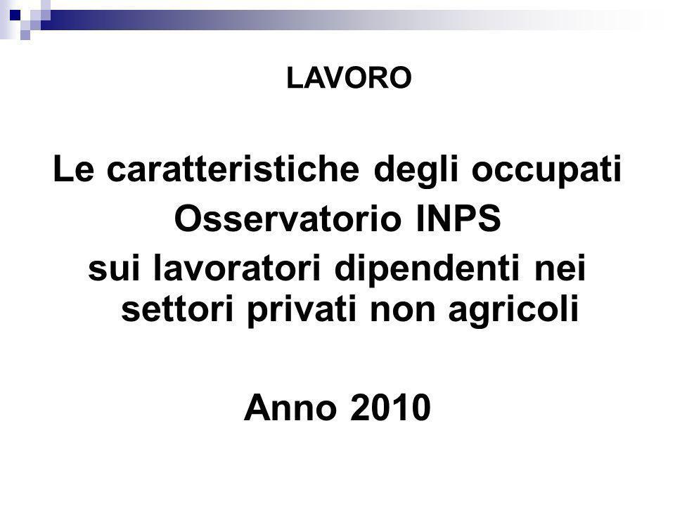 Le caratteristiche degli occupati Osservatorio INPS sui lavoratori dipendenti nei settori privati non agricoli Anno 2010 LAVORO