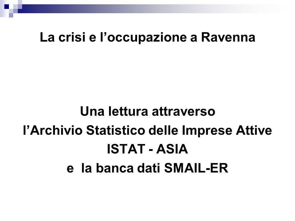 La crisi e loccupazione a Ravenna Una lettura attraverso lArchivio Statistico delle Imprese Attive ISTAT - ASIA e la banca dati SMAIL-ER