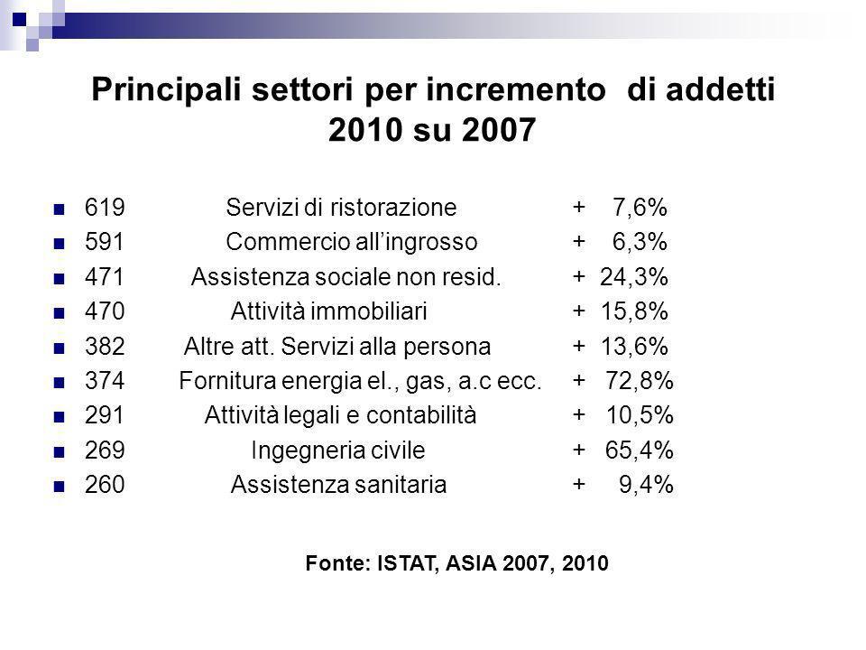Principali settori per incremento di addetti 2010 su 2007 619 Servizi di ristorazione+ 7,6% 591 Commercio allingrosso+ 6,3% 471 Assistenza sociale non