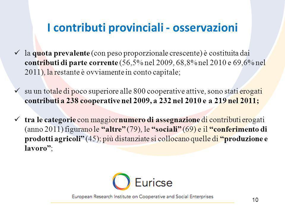 I contributi provinciali - osservazioni 10 la quota prevalente (con peso proporzionale crescente) è costituita dai contributi di parte corrente (56,5%