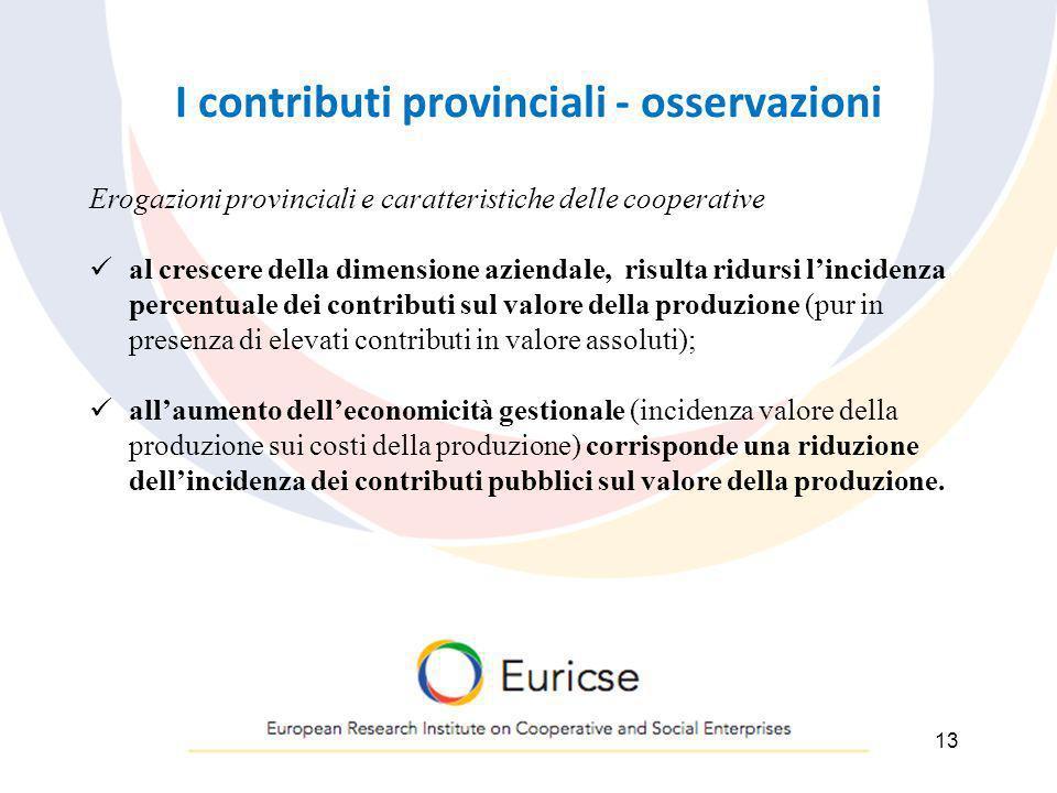 I contributi provinciali - osservazioni 13 Erogazioni provinciali e caratteristiche delle cooperative al crescere della dimensione aziendale, risulta