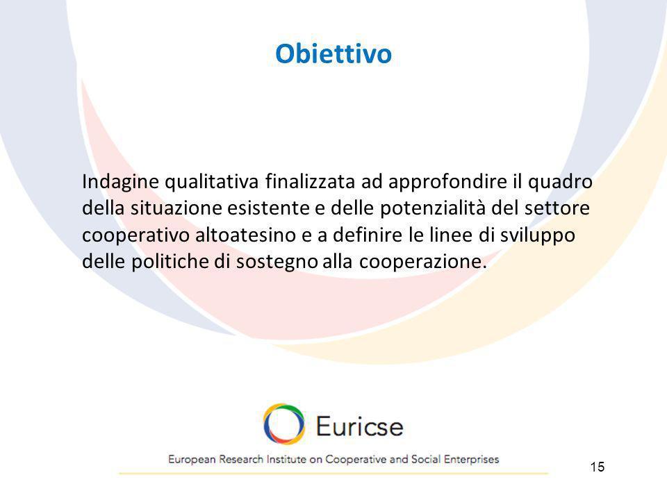 Obiettivo Indagine qualitativa finalizzata ad approfondire il quadro della situazione esistente e delle potenzialità del settore cooperativo altoatesino e a definire le linee di sviluppo delle politiche di sostegno alla cooperazione.