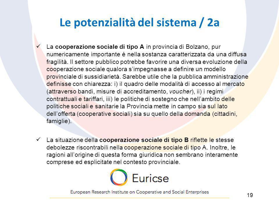 Le potenzialità del sistema / 2a La cooperazione sociale di tipo A in provincia di Bolzano, pur numericamente importante è nella sostanza caratterizza