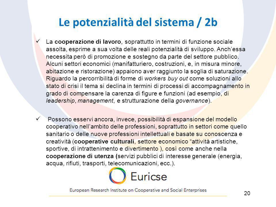 Le potenzialità del sistema / 2b La cooperazione di lavoro, soprattutto in termini di funzione sociale assolta, esprime a sua volta delle reali potenz