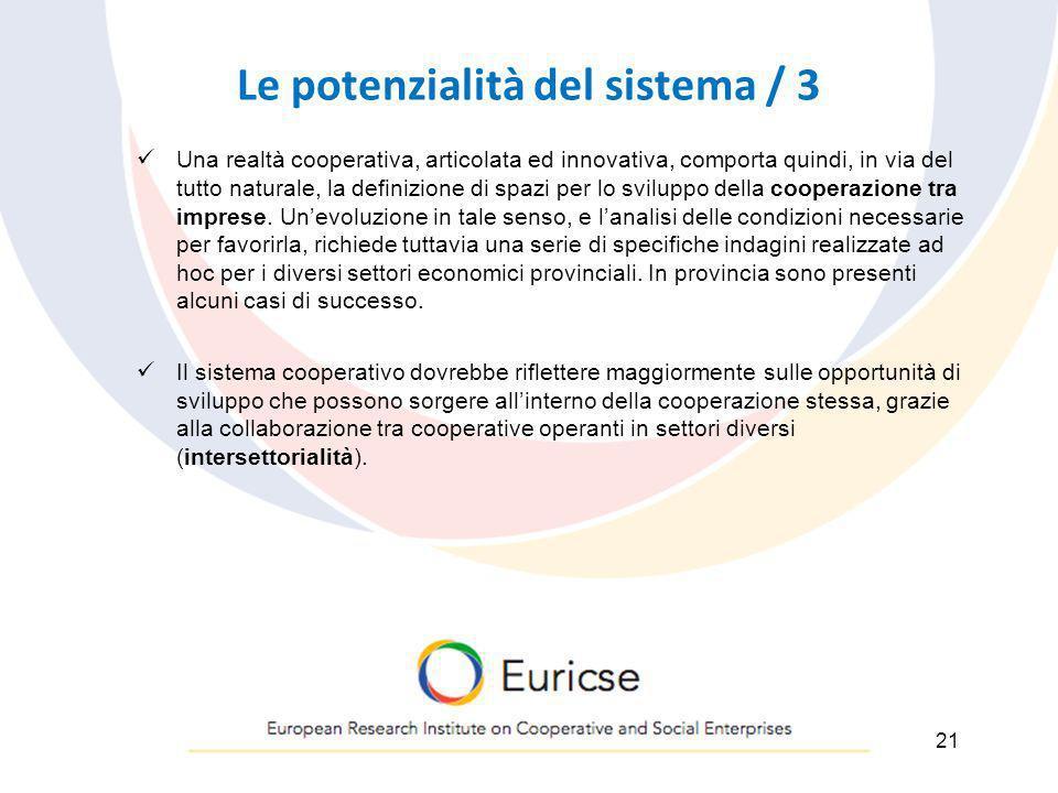 Le potenzialità del sistema / 3 Una realtà cooperativa, articolata ed innovativa, comporta quindi, in via del tutto naturale, la definizione di spazi
