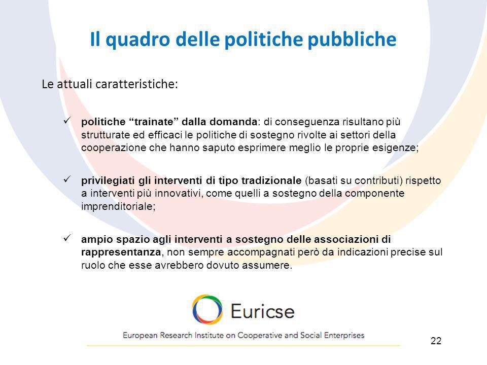 Il quadro delle politiche pubbliche Le attuali caratteristiche: politiche trainate dalla domanda: di conseguenza risultano più strutturate ed efficaci