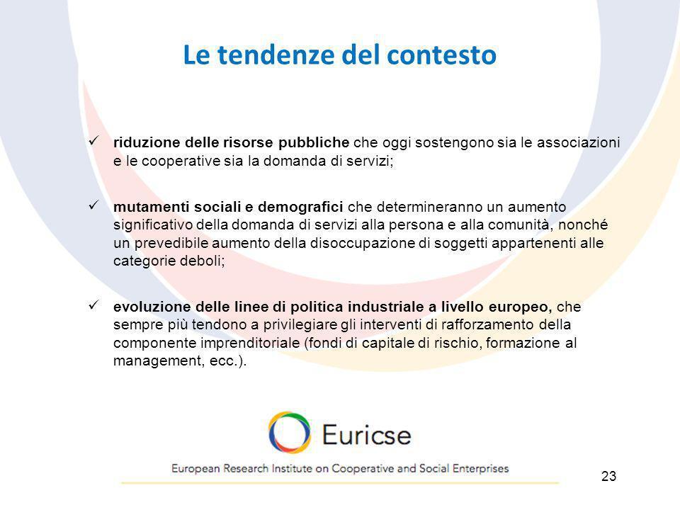 Le tendenze del contesto riduzione delle risorse pubbliche che oggi sostengono sia le associazioni e le cooperative sia la domanda di servizi; mutamen