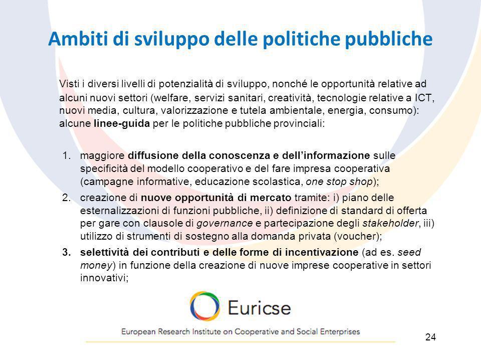 Ambiti di sviluppo delle politiche pubbliche Visti i diversi livelli di potenzialità di sviluppo, nonché le opportunità relative ad alcuni nuovi setto