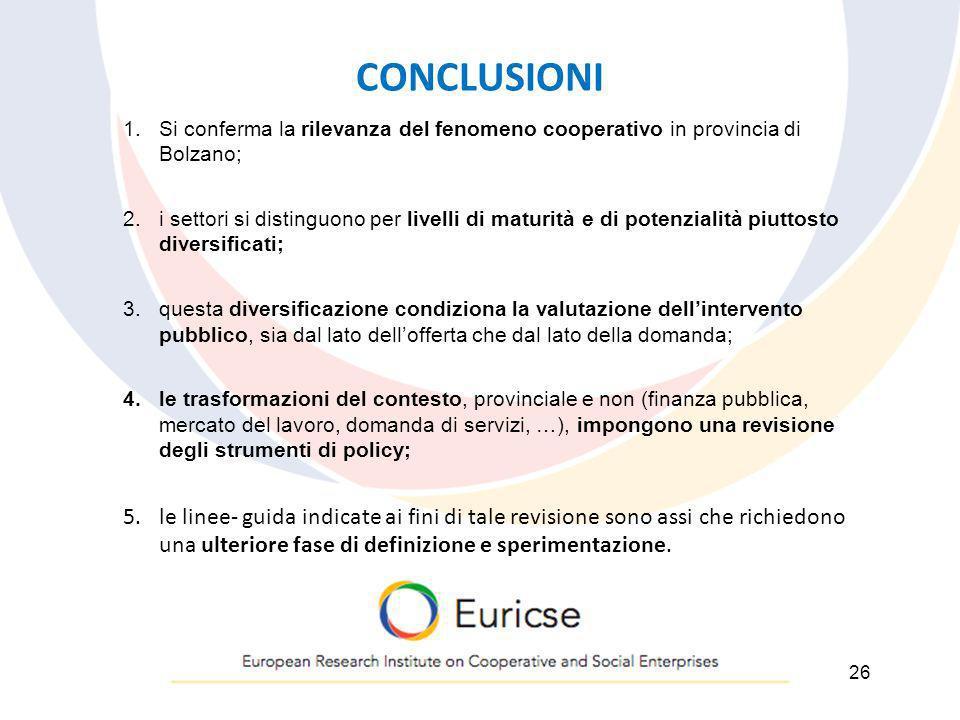 CONCLUSIONI 1.Si conferma la rilevanza del fenomeno cooperativo in provincia di Bolzano; 2.i settori si distinguono per livelli di maturità e di poten
