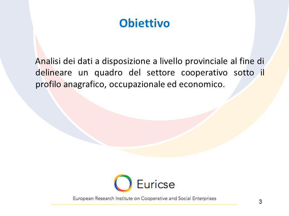 Obiettivo Analisi dei dati a disposizione a livello provinciale al fine di delineare un quadro del settore cooperativo sotto il profilo anagrafico, occupazionale ed economico.