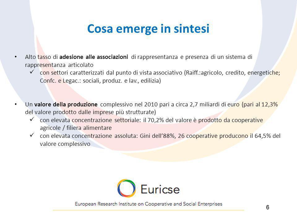 Cosa emerge in sintesi 6 Alto tasso di adesione alle associazioni di rappresentanza e presenza di un sistema di rappresentanza articolato con settori
