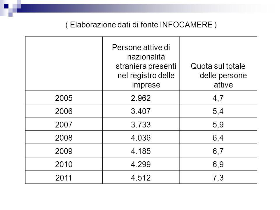 ( Elaborazione dati di fonte INFOCAMERE ) Persone attive di nazionalità straniera presenti nel registro delle imprese Quota sul totale delle persone attive 20052.9624,7 20063.4075,4 20073.7335,9 20084.0366,4 20094.1856,7 20104.2996,9 20114.5127,3