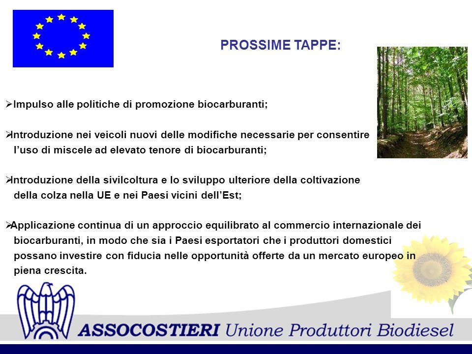 PROSSIME TAPPE: Impulso alle politiche di promozione biocarburanti; Introduzione nei veicoli nuovi delle modifiche necessarie per consentire luso di m
