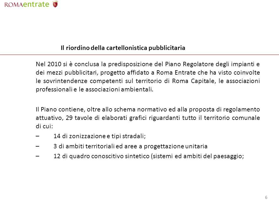 66 Il riordino della cartellonistica pubblicitaria Nel 2010 si è conclusa la predisposizione del Piano Regolatore degli impianti e dei mezzi pubblicitari, progetto affidato a Roma Entrate che ha visto coinvolte le sovrintendenze competenti sul territorio di Roma Capitale, le associazioni professionali e le associazioni ambientali.