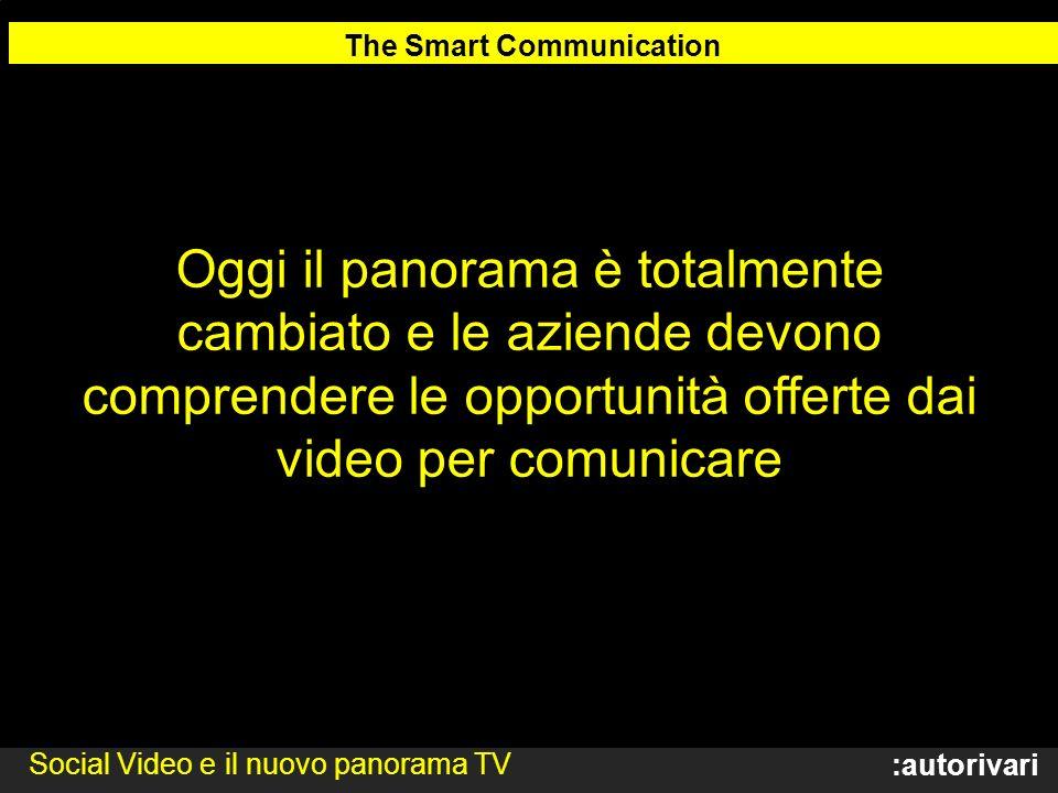 :autorivari Oggi il panorama è totalmente cambiato e le aziende devono comprendere le opportunità offerte dai video per comunicare The Smart Communication Social Video e il nuovo panorama TV