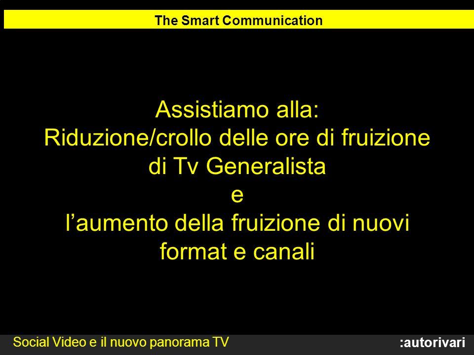 :autorivari Assistiamo alla: Riduzione/crollo delle ore di fruizione di Tv Generalista e laumento della fruizione di nuovi format e canali The Smart Communication Social Video e il nuovo panorama TV