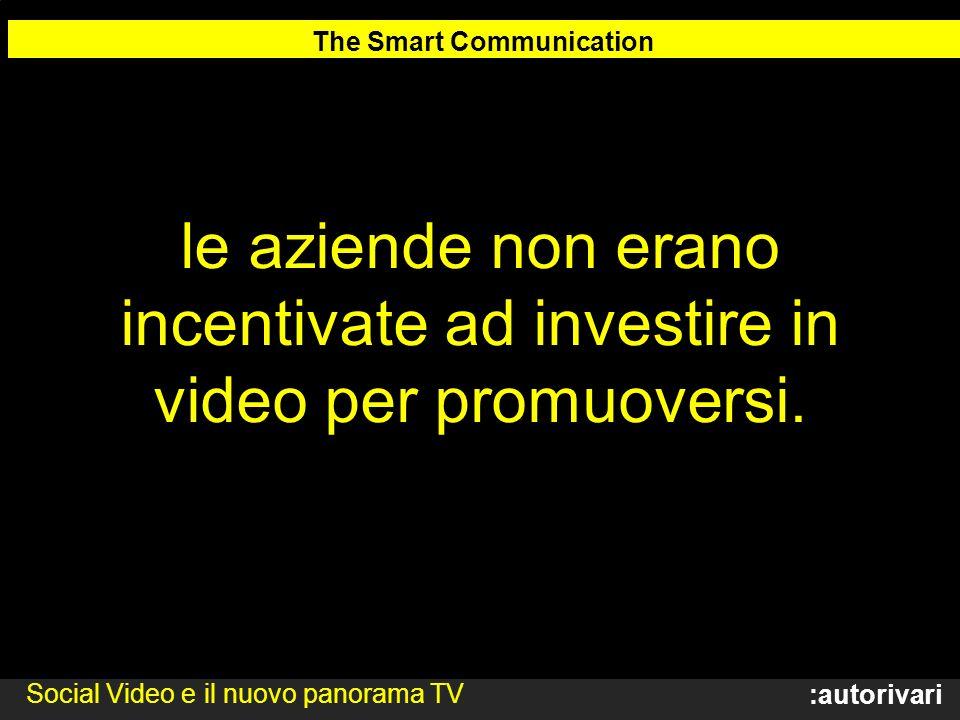 :autorivari le aziende non erano incentivate ad investire in video per promuoversi.