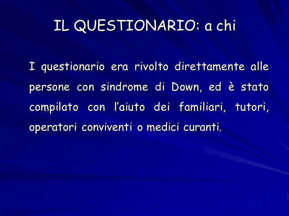 IL QUESTIONARIO: a chi I questionario era rivolto direttamente alle persone con sindrome di Down, ed è stato compilato con laiuto dei familiari, tutori, operatori conviventi o medici curanti.