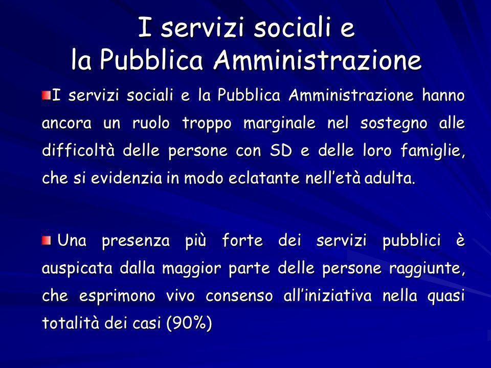 I servizi sociali e la Pubblica Amministrazione I servizi sociali e la Pubblica Amministrazione hanno ancora un ruolo troppo marginale nel sostegno alle difficoltà delle persone con SD e delle loro famiglie, che si evidenzia in modo eclatante nelletà adulta.