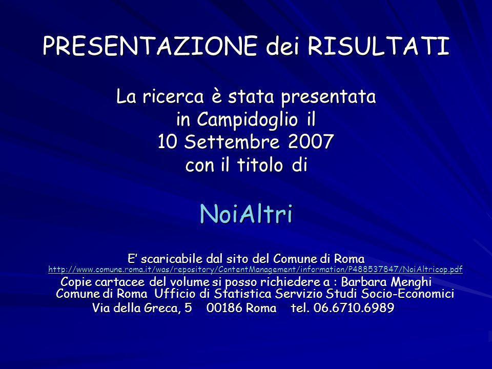 PRESENTAZIONE dei RISULTATI La ricerca è stata presentata in Campidoglio il 10 Settembre 2007 con il titolo di NoiAltri E scaricabile dal sito del Comune di Roma http://www.comune.roma.it/was/repository/ContentManagement/information/P488537847/NoiAltricop.pdf http://www.comune.roma.it/was/repository/ContentManagement/information/P488537847/NoiAltricop.pdf Copie cartacee del volume si posso richiedere a : Barbara Menghi Comune di Roma Ufficio di Statistica Servizio Studi Socio-Economici Via della Greca, 5 00186 Roma tel.
