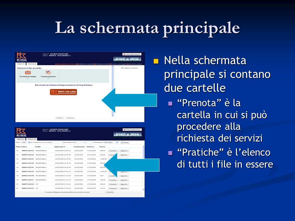 La schermata principale Nella schermata principale si contano due cartelle Prenota è la cartella in cui si può procedere alla richiesta dei servizi Pratiche è lelenco di tutti i file in essere