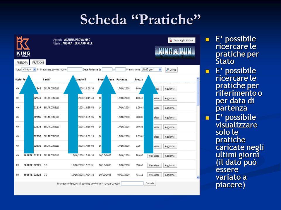Scheda Pratiche E possibile ricercare le pratiche per Stato E possibile ricercare le pratiche per riferimento o per data di partenza E possibile visualizzare solo le pratiche caricate negli ultimi giorni (il dato può essere variato a piacere)
