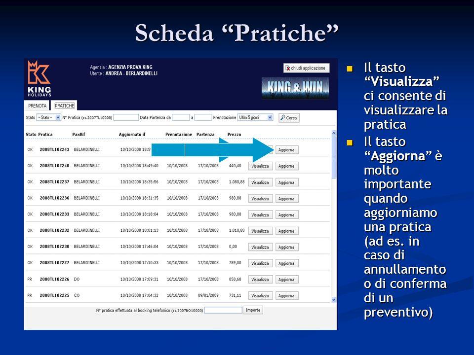 Scheda Pratiche Il tastoVisualizza ci consente di visualizzare la pratica Il tastoAggiorna è molto importante quando aggiorniamo una pratica (ad es.