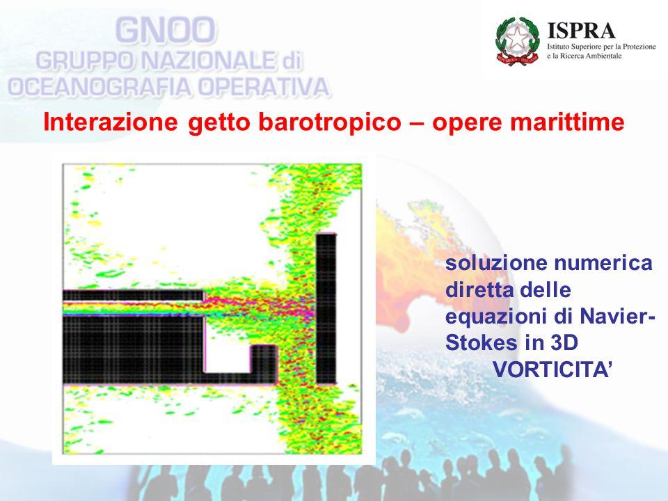 Interazione getto barotropico – opere marittime soluzione numerica diretta delle equazioni di Navier- Stokes in 3D VORTICITA