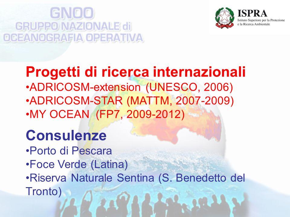 Progetti di ricerca internazionali ADRICOSM-extension (UNESCO, 2006) ADRICOSM-STAR (MATTM, 2007-2009) MY OCEAN (FP7, 2009-2012) Consulenze Porto di Pescara Foce Verde (Latina) Riserva Naturale Sentina (S.