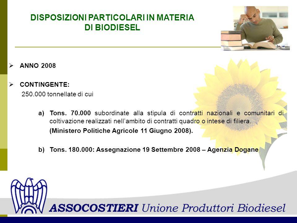 DISPOSIZIONI PARTICOLARI IN MATERIA DI BIODIESEL ANNO 2008 CONTINGENTE: 250.000 tonnellate di cui a)Tons. 70.000 subordinate alla stipula di contratti