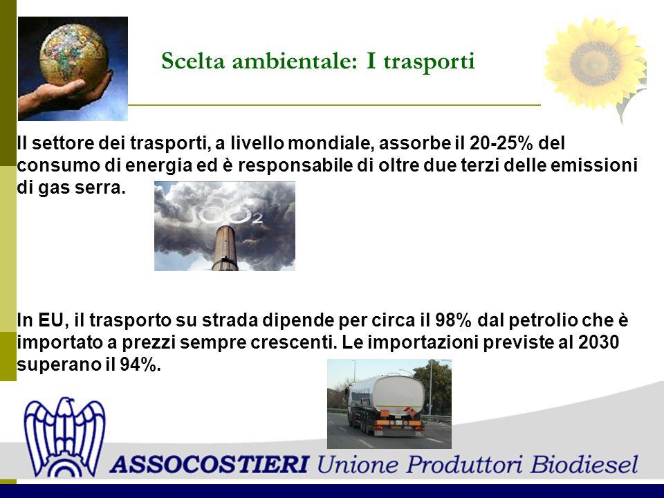 Il settore dei trasporti, a livello mondiale, assorbe il 20-25% del consumo di energia ed è responsabile di oltre due terzi delle emissioni di gas ser