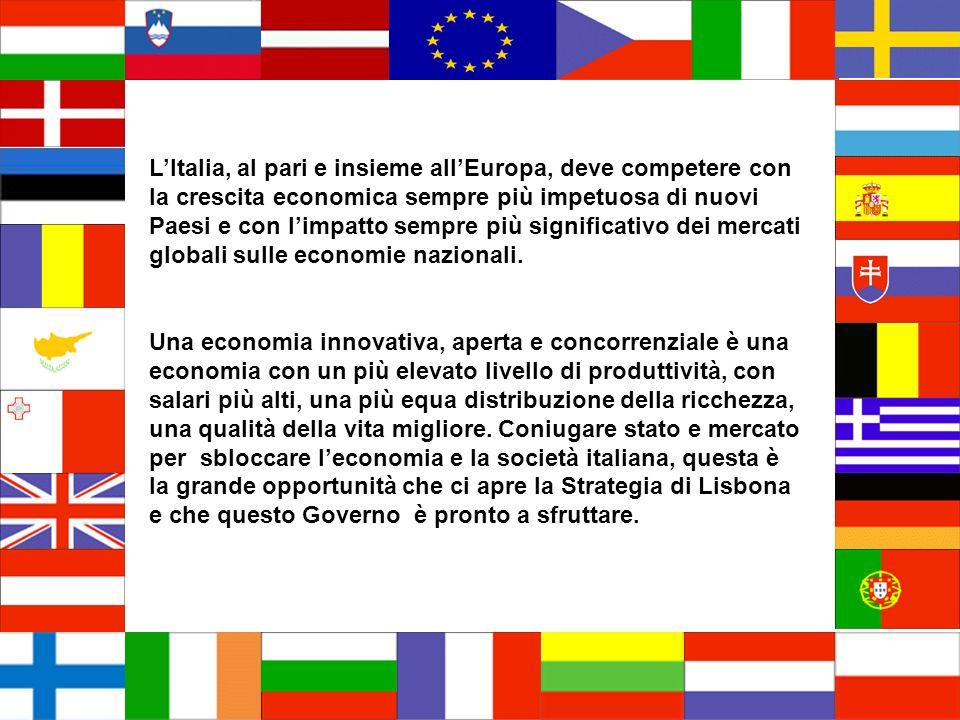 LItalia, al pari e insieme allEuropa, deve competere con la crescita economica sempre più impetuosa di nuovi Paesi e con limpatto sempre più significativo dei mercati globali sulle economie nazionali.