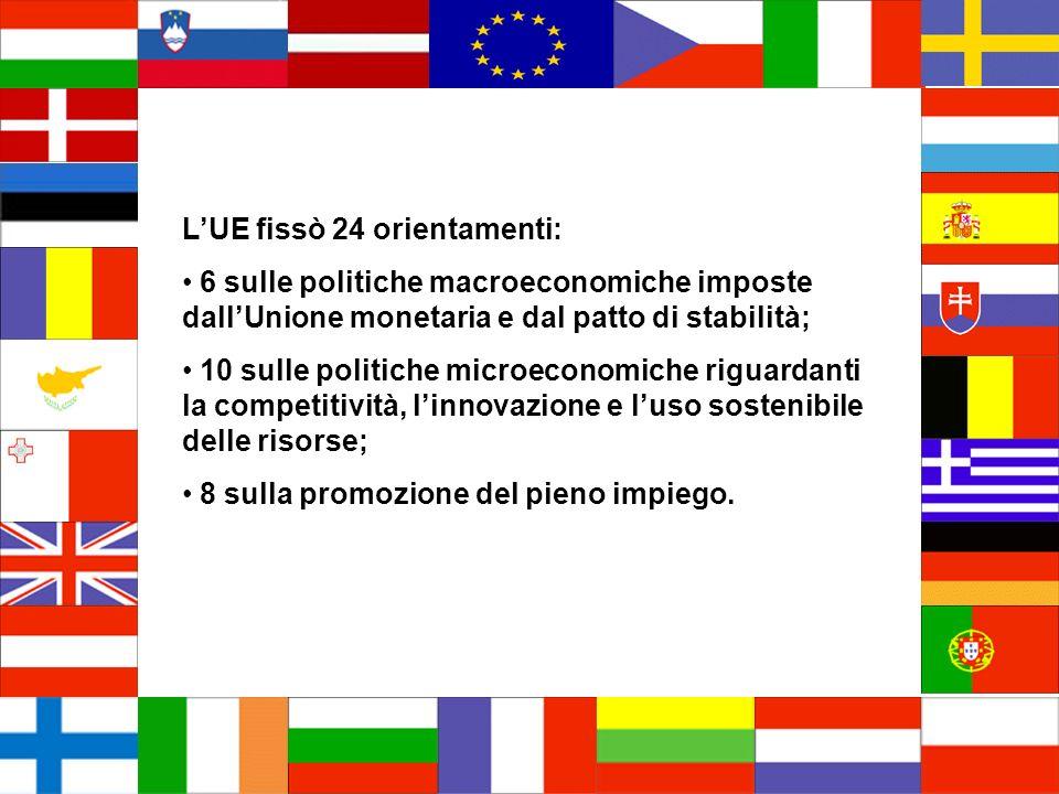 LUE fissò 24 orientamenti: 6 sulle politiche macroeconomiche imposte dallUnione monetaria e dal patto di stabilità; 10 sulle politiche microeconomiche