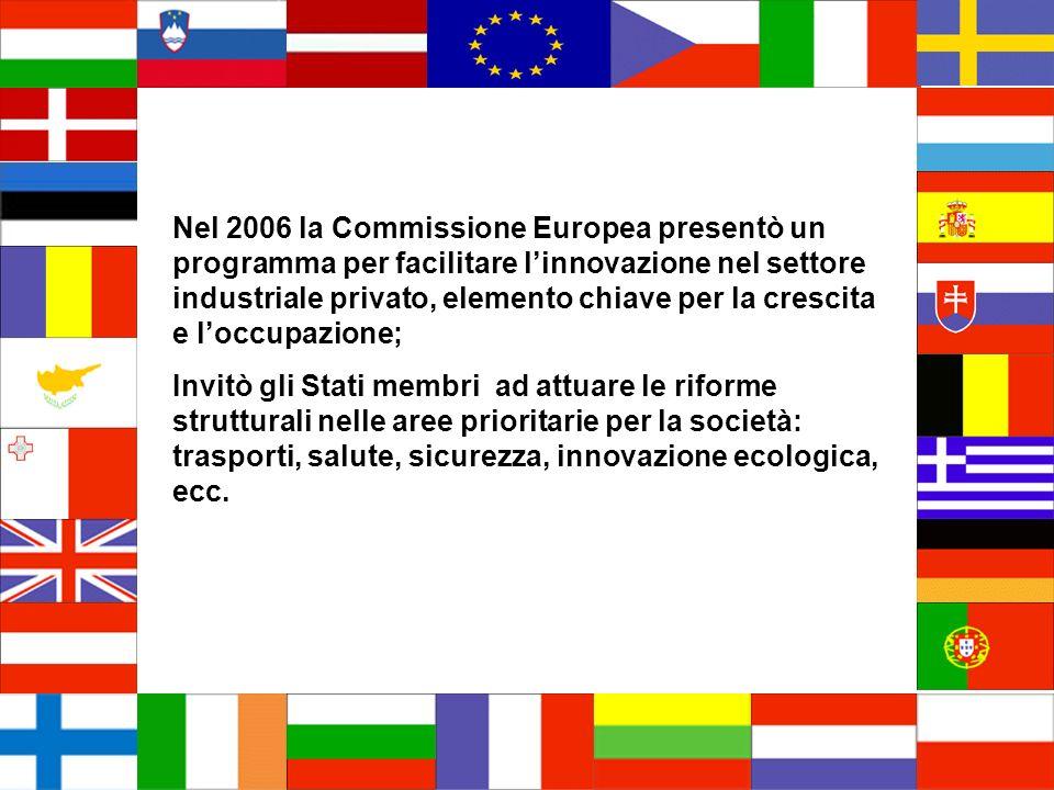 Nel 2006 la Commissione Europea presentò un programma per facilitare linnovazione nel settore industriale privato, elemento chiave per la crescita e loccupazione; Invitò gli Stati membri ad attuare le riforme strutturali nelle aree prioritarie per la società: trasporti, salute, sicurezza, innovazione ecologica, ecc.