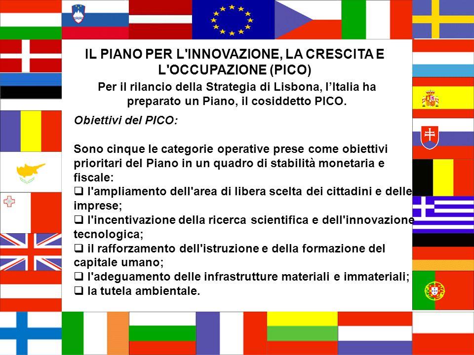 IL PIANO PER L INNOVAZIONE, LA CRESCITA E L OCCUPAZIONE (PICO) Per il rilancio della Strategia di Lisbona, lItalia ha preparato un Piano, il cosiddetto PICO.
