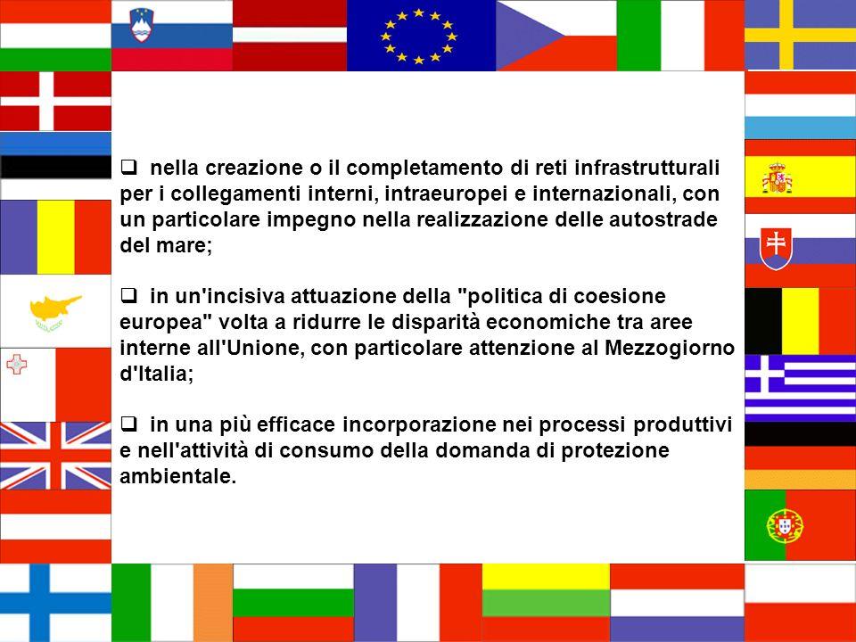 nella creazione o il completamento di reti infrastrutturali per i collegamenti interni, intraeuropei e internazionali, con un particolare impegno nell