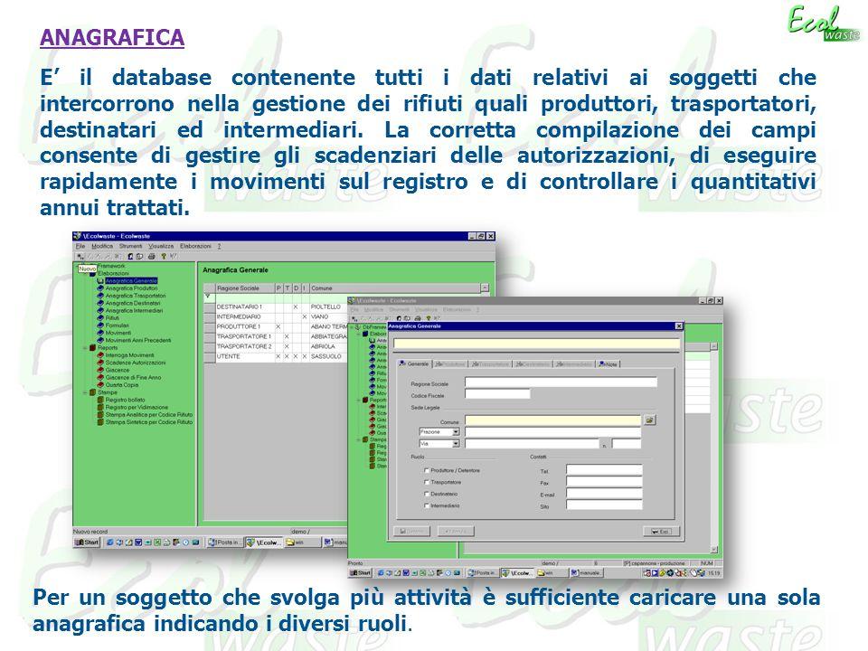 ANAGRAFICA E il database contenente tutti i dati relativi ai soggetti che intercorrono nella gestione dei rifiuti quali produttori, trasportatori, destinatari ed intermediari.