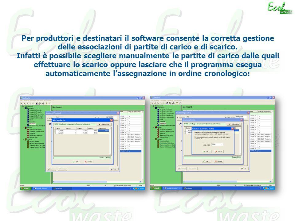 Per produttori e destinatari il software consente la corretta gestione delle associazioni di partite di carico e di scarico.