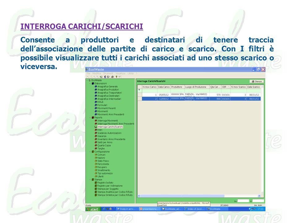 INTERROGA CARICHI/SCARICHI Consente a produttori e destinatari di tenere traccia dellassociazione delle partite di carico e scarico.