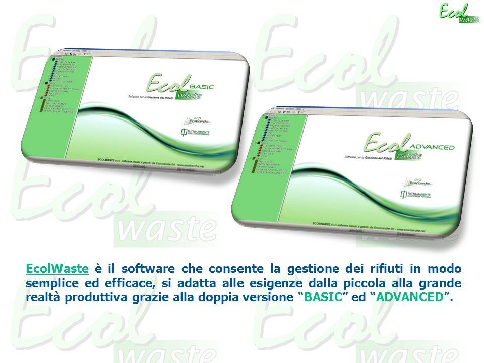 EcolWaste è il software che consente la gestione dei rifiuti in modo semplice ed efficace, si adatta alle esigenze dalla piccola alla grande realtà produttiva grazie alla doppia versione BASIC ed ADVANCED.