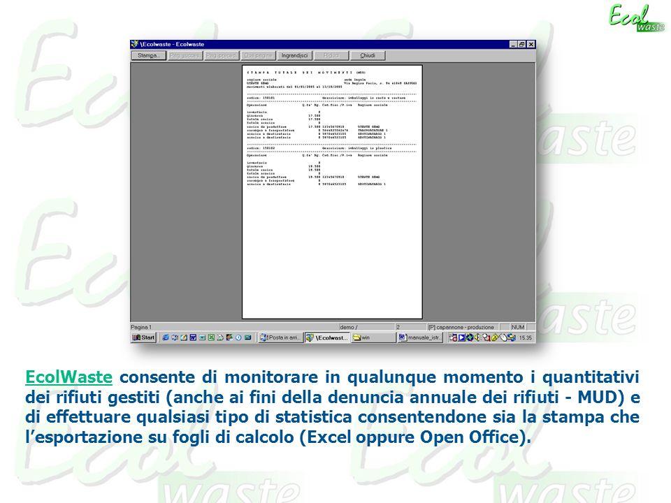 EcolWaste consente di monitorare in qualunque momento i quantitativi dei rifiuti gestiti (anche ai fini della denuncia annuale dei rifiuti - MUD) e di effettuare qualsiasi tipo di statistica consentendone sia la stampa che lesportazione su fogli di calcolo (Excel oppure Open Office).