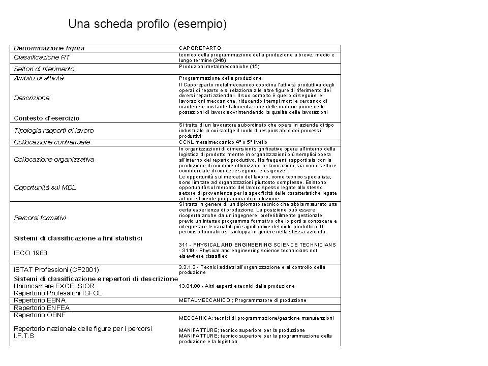 Una scheda profilo (esempio)