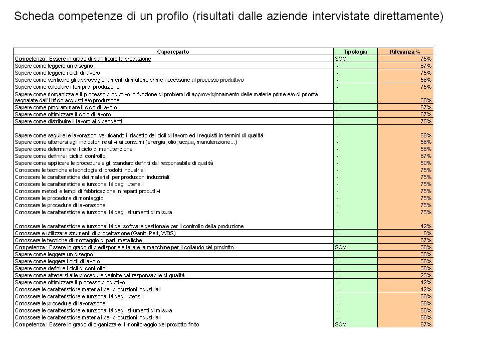 Scheda competenze di un profilo (risultati dalle aziende intervistate direttamente)