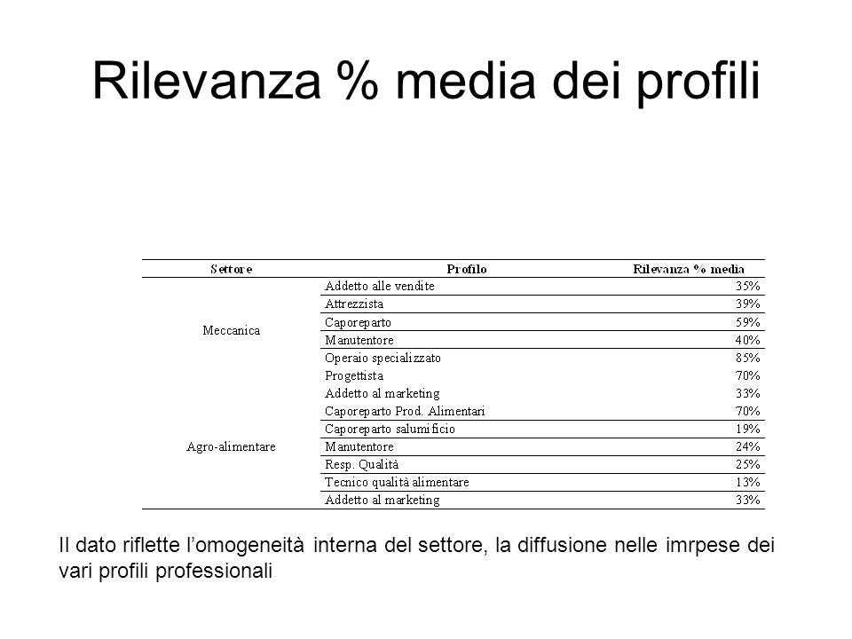 Rilevanza % media dei profili Il dato riflette lomogeneità interna del settore, la diffusione nelle imrpese dei vari profili professionali