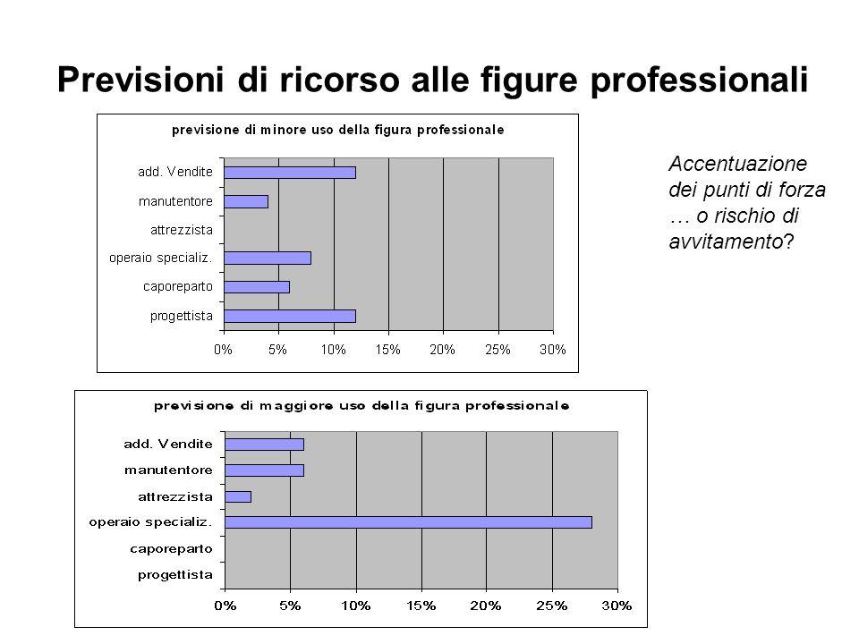 Previsioni di ricorso alle figure professionali Accentuazione dei punti di forza … o rischio di avvitamento