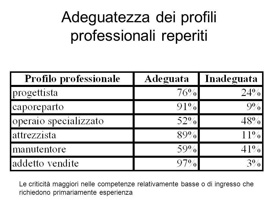 Adeguatezza dei profili professionali reperiti Le criticità maggiori nelle competenze relativamente basse o di ingresso che richiedono primariamente esperienza