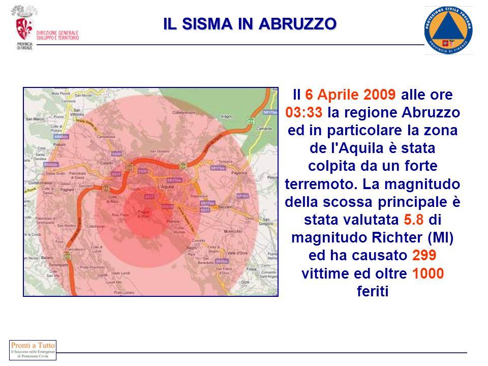 IL SISMA IN ABRUZZO Il 6 Aprile 2009 alle ore 03:33 la regione Abruzzo ed in particolare la zona de l'Aquila è stata colpita da un forte terremoto. La