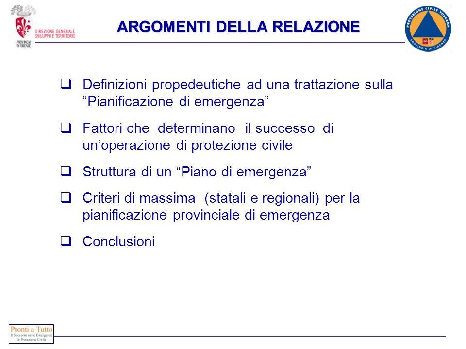Definizioni propedeutiche ad una trattazione sulla Pianificazione di emergenza Fattori che determinano il successo di unoperazione di protezione civil