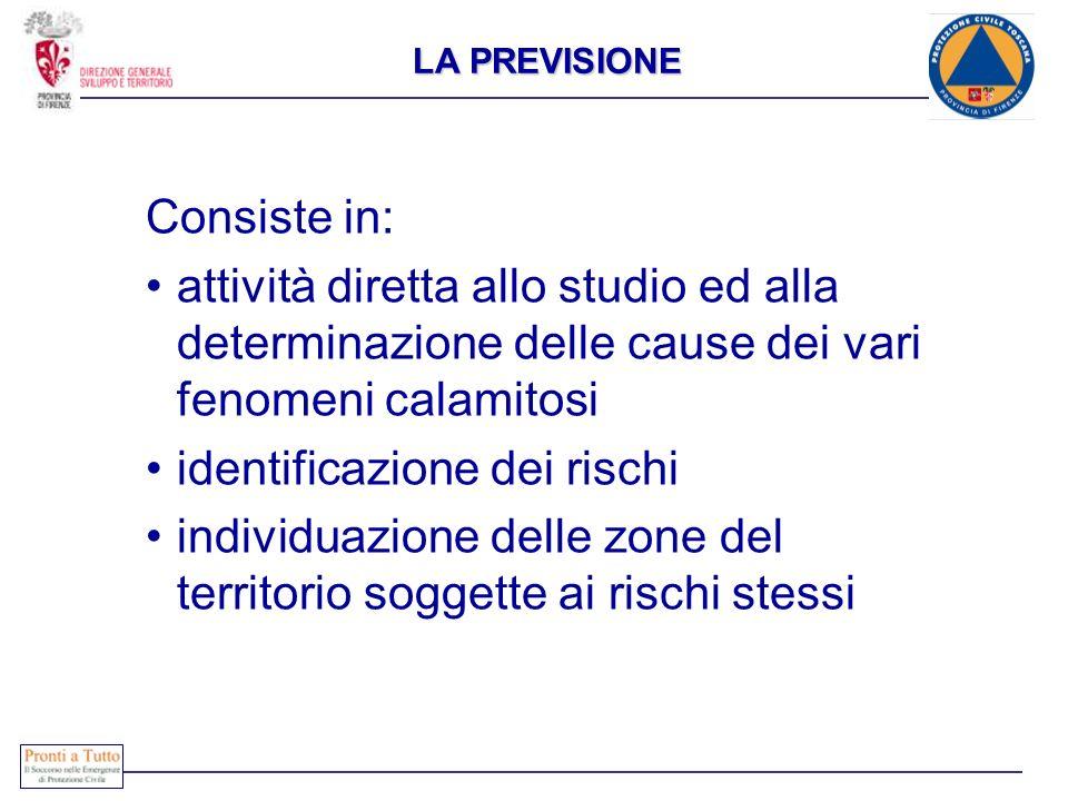 Consiste in: attività diretta allo studio ed alla determinazione delle cause dei vari fenomeni calamitosi identificazione dei rischi individuazione de