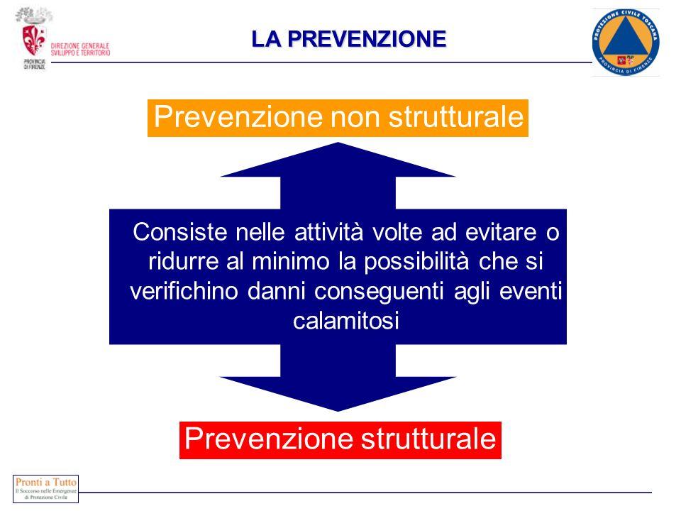 LA PREVENZIONE Consiste nelle attività volte ad evitare o ridurre al minimo la possibilità che si verifichino danni conseguenti agli eventi calamitosi